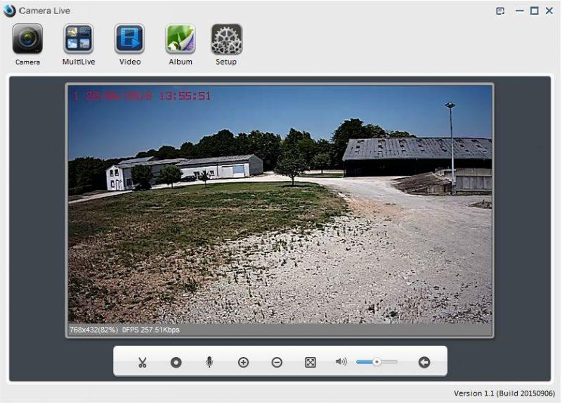 Vue de la caméra connectée depuis l'application bureau Irricam